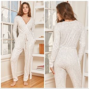 Lulus All Is Cozy Long Sleeve Lounge Jumpsuit S